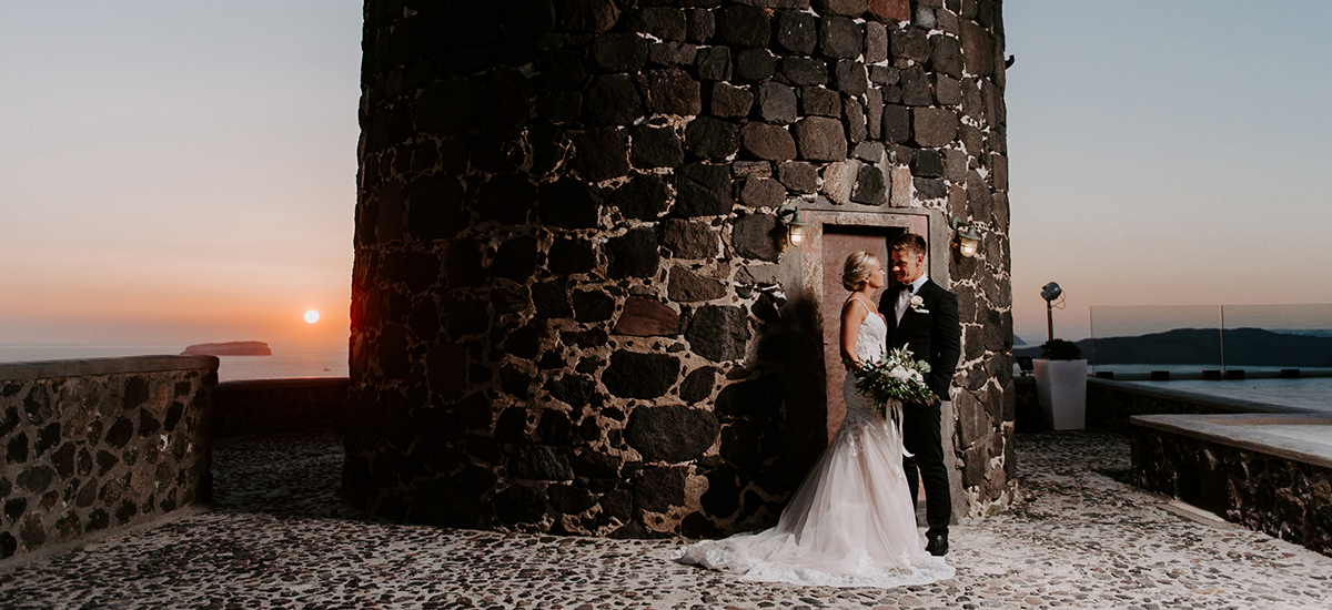 santorini sunset wedding photo phosart