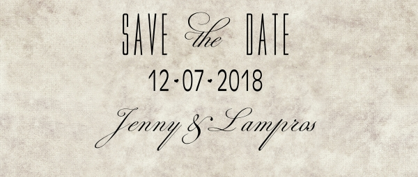 Save The Date in Athens with Jenny and Lampros!