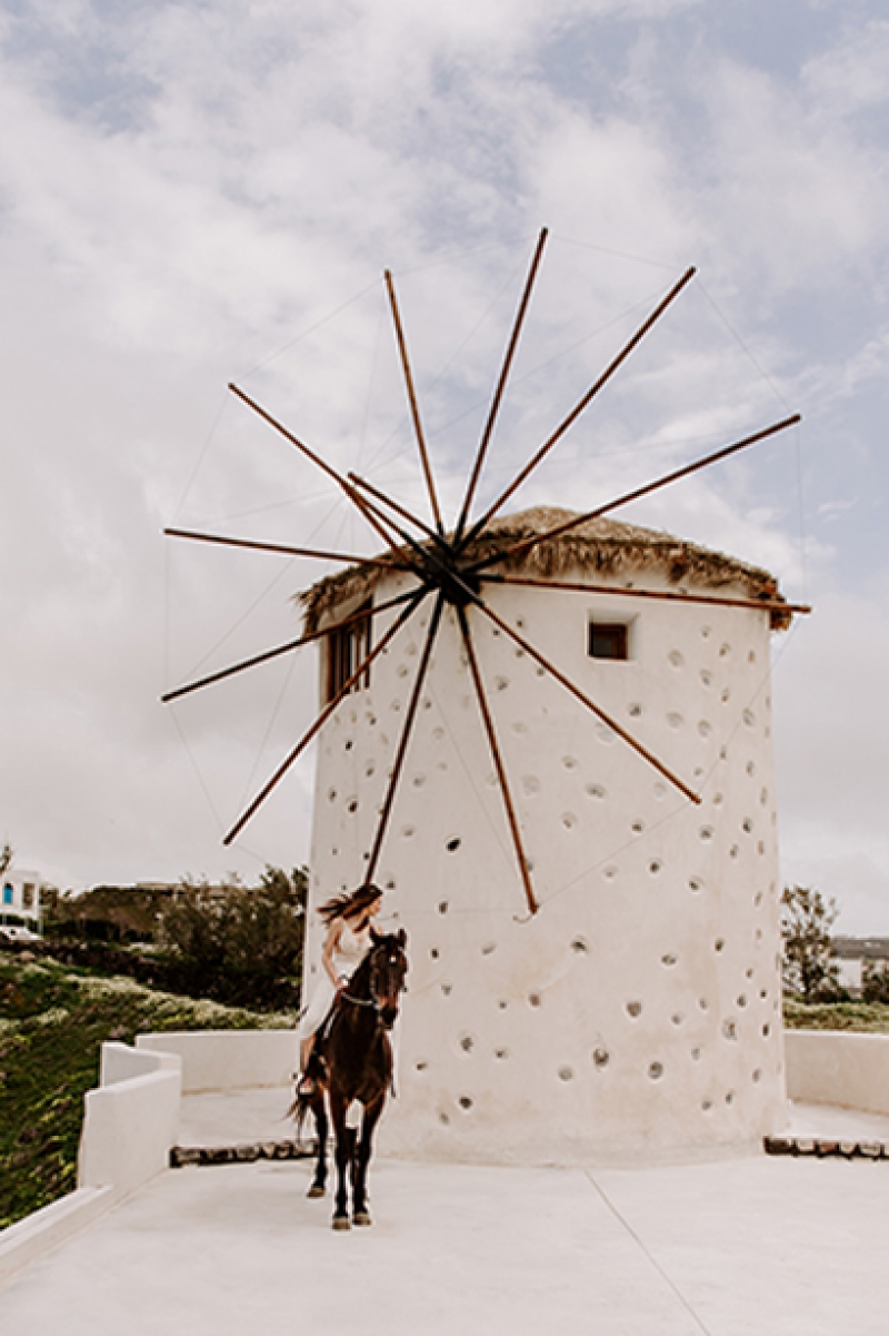 Horse Riding Elopement at Santorini Windmills