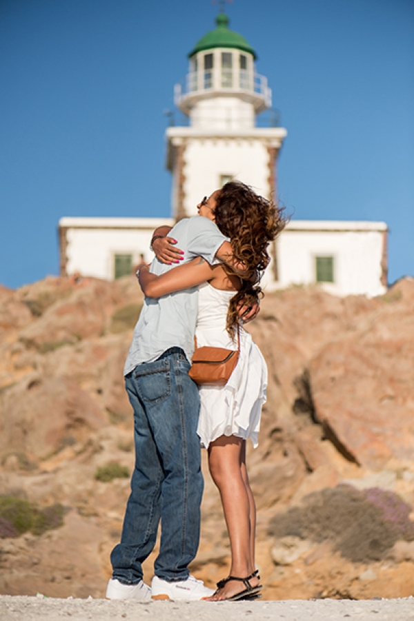 Boho wedding proposal at Lighthouse, Akrotiri