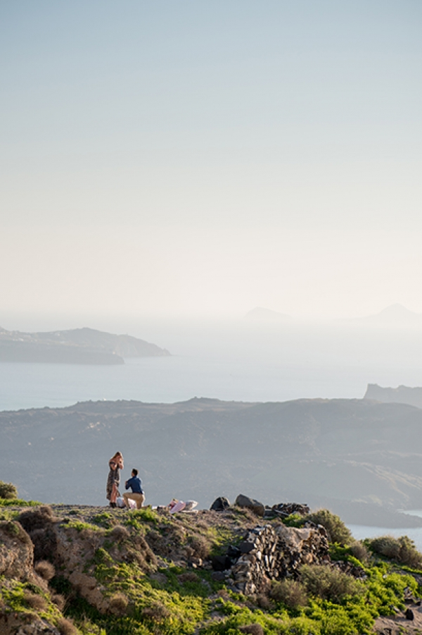 Romantic Spring Wedding Proposal in Santorini