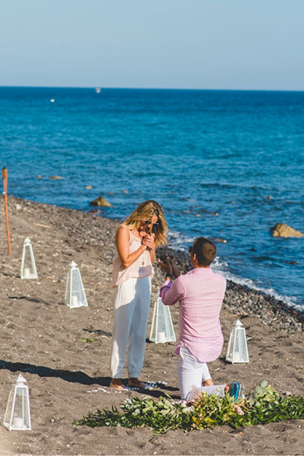 Proposal at Eros Beach, Santorini