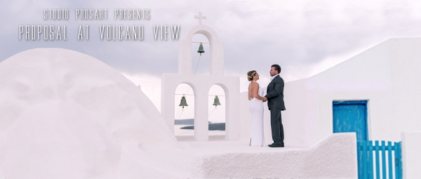 Picturesque Surprise Proposal at Volcano View Hotel, Santorini