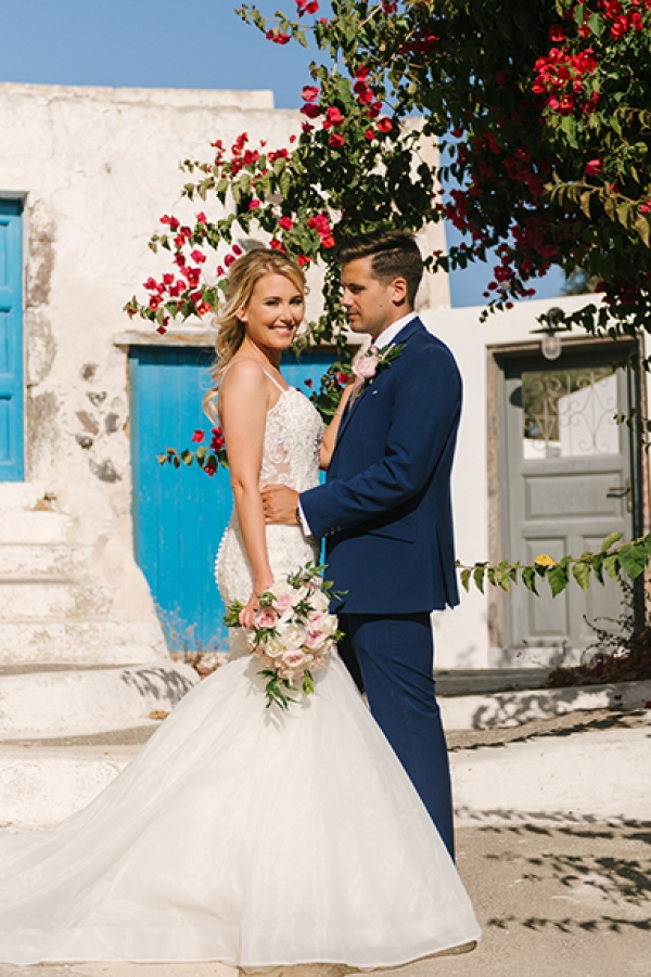 Dusky Pink and White Wedding at Santo Wines, Santorini