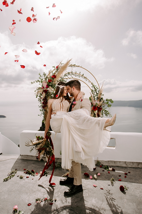 Boho Elopement at Sophia Luxury Suites, Santorini