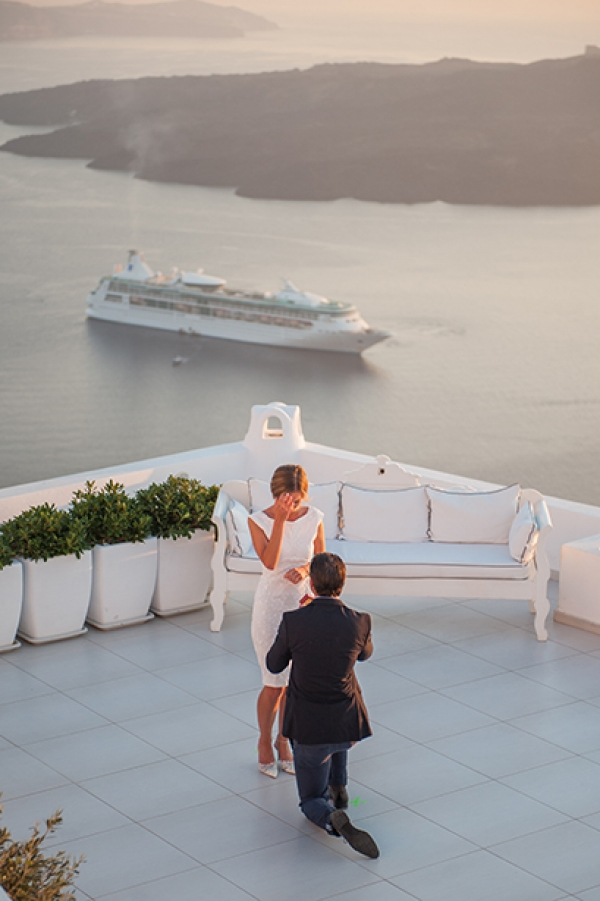 Romantic wedding proposal at Dana Villas, Santorini