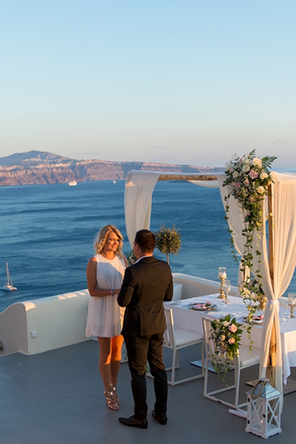Romantic Destination Wedding Proposal at Canaves Oia Santorini
