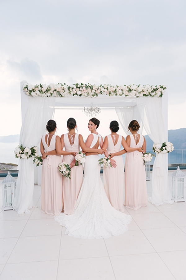 White and Green Glamorous Wedding at Le Ciel, Santorini