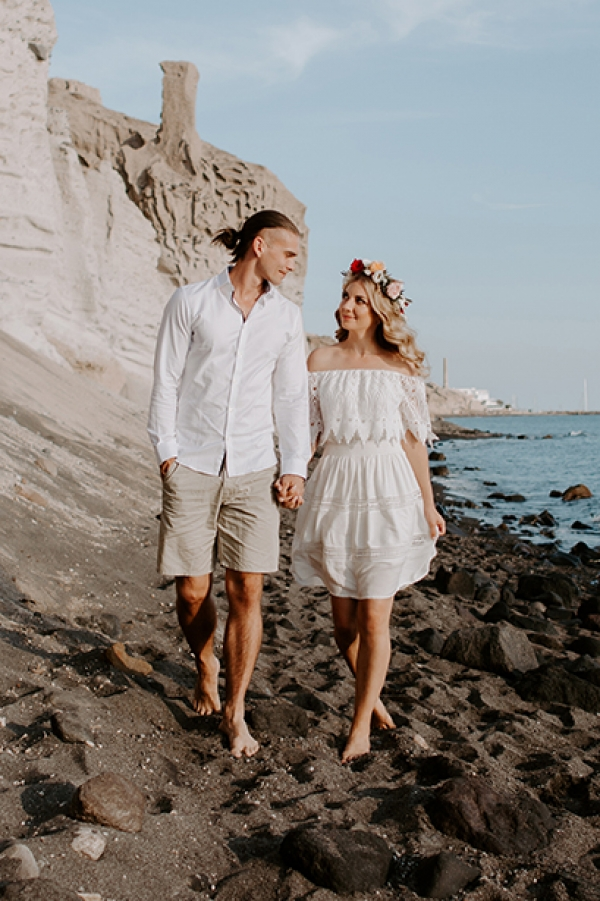 Romantic Pre-Wedding Photography at Vlychada Beach