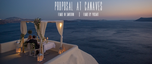 Wedding proposal at Canaves Restaurant, Oia